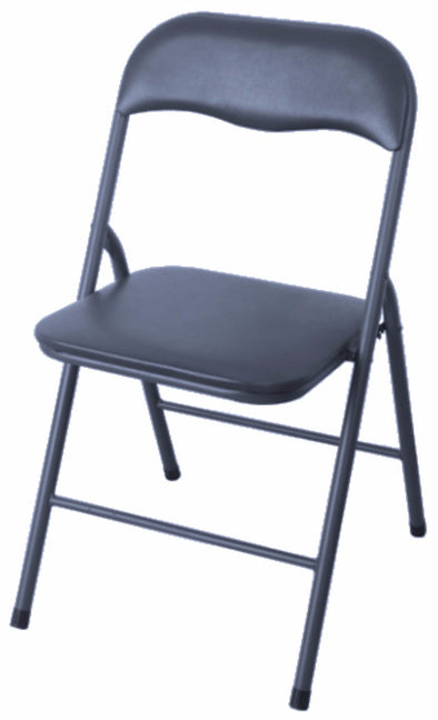 #1234-BK PVC & Cushion Folding Chairs - Black (Case pack 6 pcs)