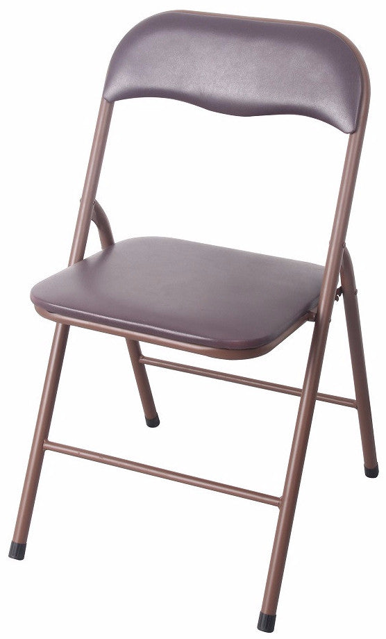 #1234-BR PVC & Cushion Folding Chair - Brown (Case pack 6 pcs)