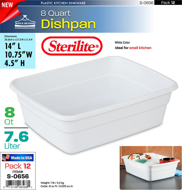 #S-0656 Sterilite Plastic 8 Quart Dishpan (case pack 12 pcs)