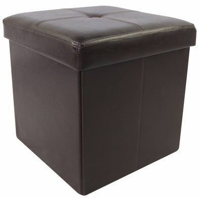"#1532-BRP Collapsible 15"" Storage Ottoman - Brown (case pack 4 pcs)"