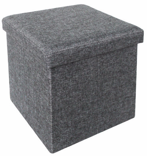 "#1532-FGR Collapsible 15"" Storage Ottoman - Grey (case pack 4 pcs)"
