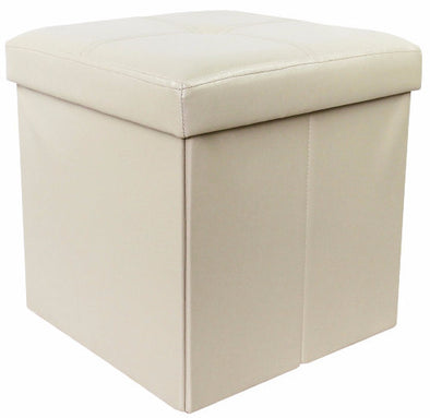 "#1532-PIV Collapsible 15"" Storage Ottoman - Ivory (case pack 4 pcs)"
