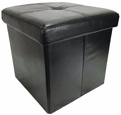 "#1532-UBK Collapsible 15"" Storage Ottoman - Black (case pack 4 pcs)"