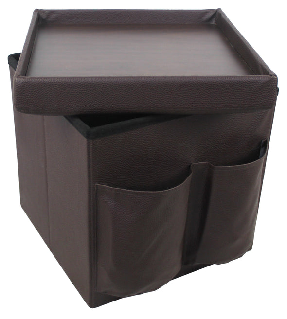 "#1533-1B1 Collapsible 15"" Storage Ottoman w/TV Tray & Side Pockets - Brown (case pack 4 pcs)"