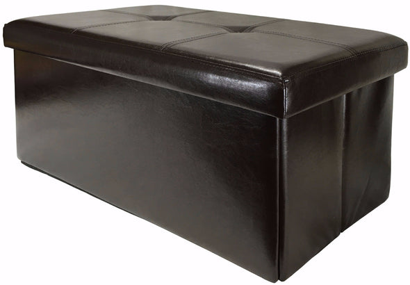 "#1539-B2 Collapsible 30"" Storage Ottoman - Brown (case pack 1 pc)"