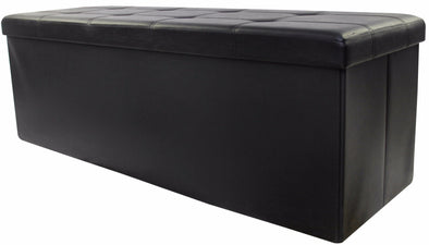 "#1540-KB3 Collapsible 45"" Storage Ottoman - Black (case pack 1 pc)"