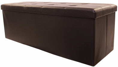 "#1540-BR3 Collapsible 45"" Storage Ottoman - Brown (case pack 1 pc)"