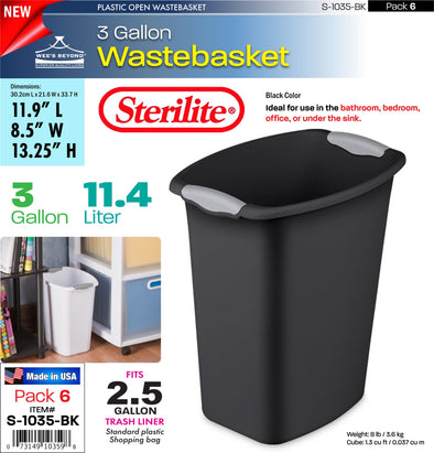 #S-1035-BK Sterilite Plastic 3 Gallon Wastebasket- Black (case pack 6 pcs)
