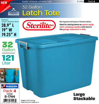 #S-1744 Sterilite Plastic 32 Gallon Latch Tote (case pack 4 pcs)