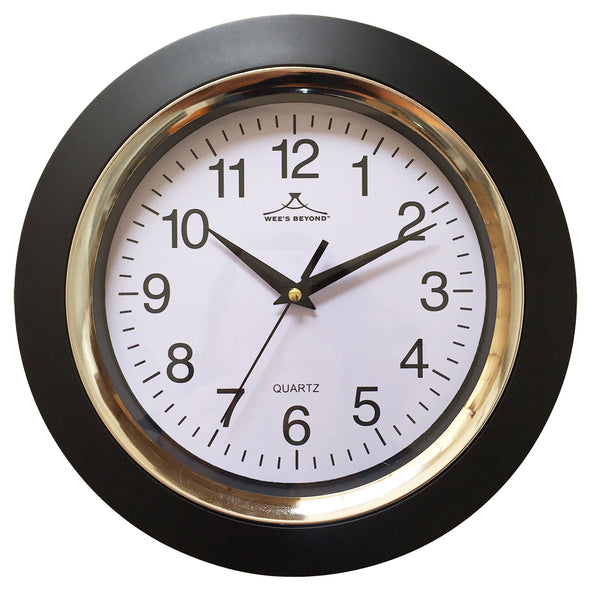 "#2810-BLK Wee's Beyond 10"" Classic Decorative Wall Clock (case pack 10 pcs)"