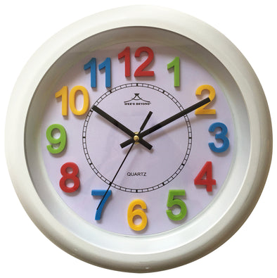 "#2812-WHT Wee's Beyond 12"" Colorful Decorative White Wall Clock (case pack 6 pcs)"