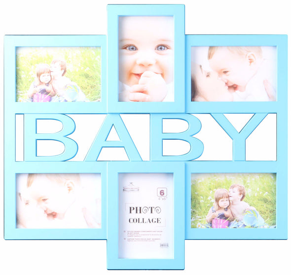 #2895-BB Baby Collage 6-Photo Frame - Blue & Pink (case pack 8 pcs)