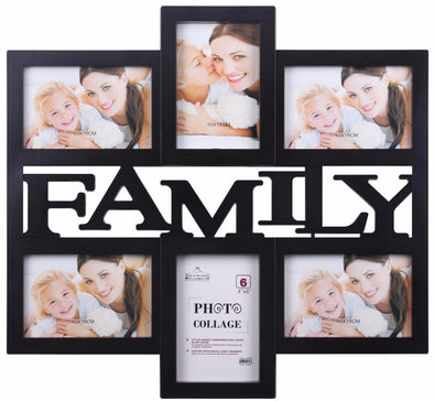 #2896-BLK Family Collage 6-Photo Frame Assorted Colors (case pack 8 pcs)