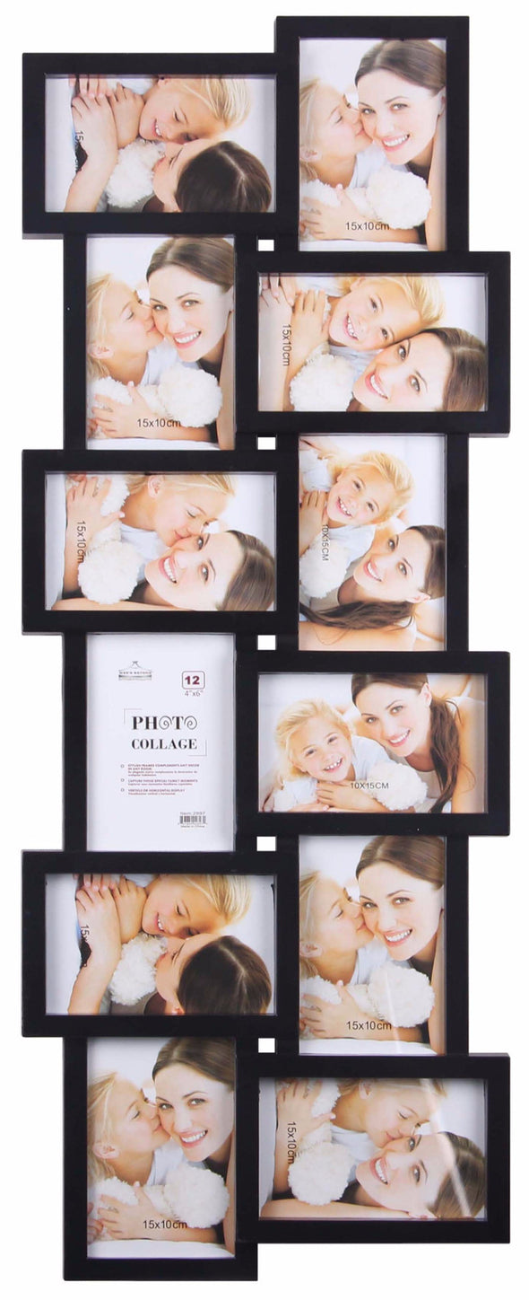 #2897 12-Photo Collage Frame Black (case pack 6 pcs)