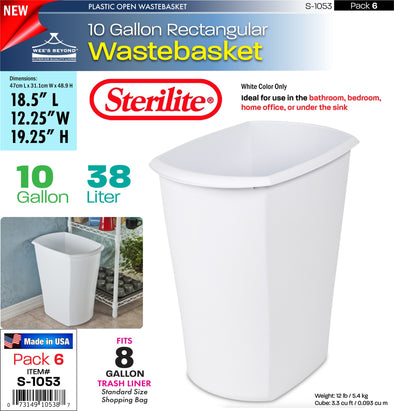 #S-1053 Sterilite Plastic 10 Gallon Rectangular Wastebasket (case pack 6 pcs)