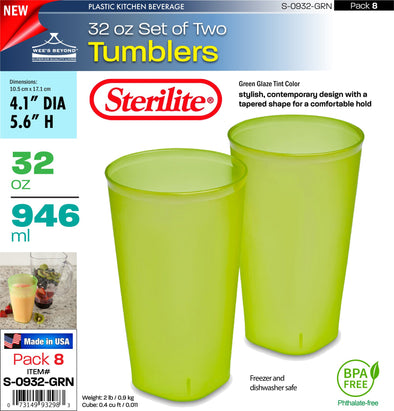 #S-0932-GRN Sterilite Plastic Set of Two 32 Ounce Tumblers Green (case pack 8 pcs)