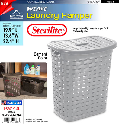 #S-1276-CM Sterilite Plastic Weave Laundry Basket- Cement (case pack 4 pcs)