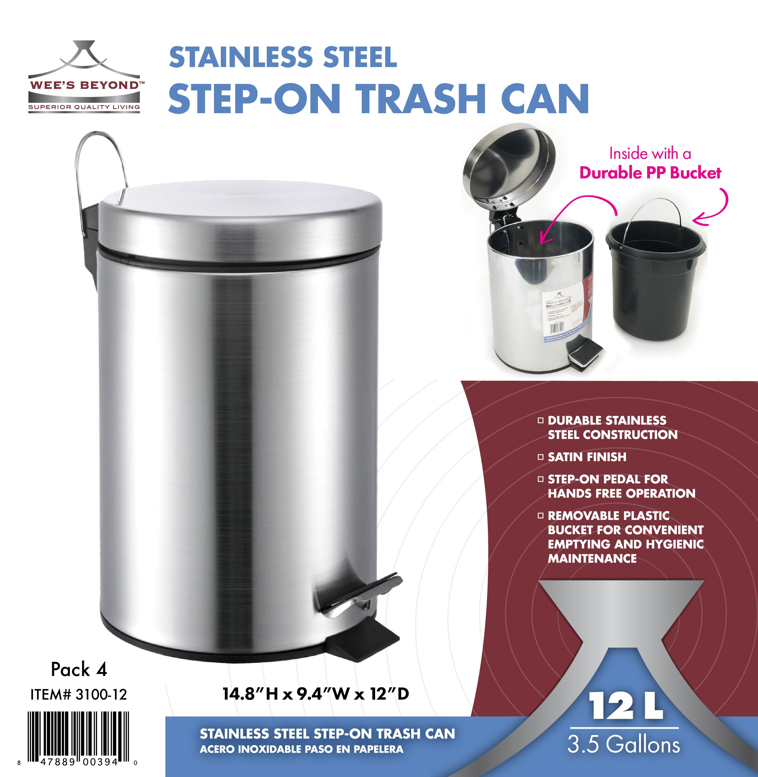 Wees Beyond 3100-12 Stainless Steel Trash Can 12 lt//3.5 Gallons Wee/'s Beyond