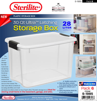 #S-1985 Sterilite Plastic 30 Qt Ultra Latching Storage Box (case pack 6 pcs)