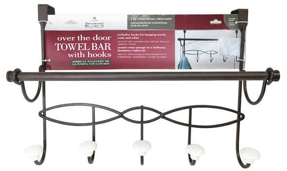 #3505 Over Door Hook with Towel Bar (case pack 6 pcs)