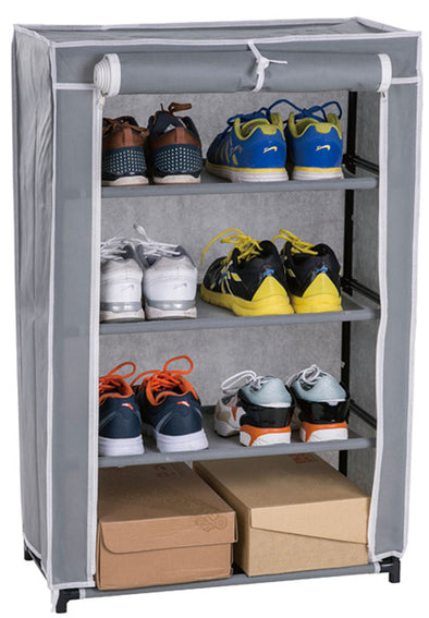 #3530-GRY Roll-up Door 4-Tier Shoe Closet (case pack 6 pcs)