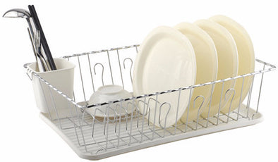 #3701-WHT Large Dish Drainer Set of 3-piece - White (case pack 6 pcs)