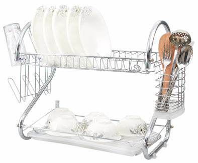 "#3723 Chrome 16"" 2-Tier Dish Rack (case pack 6 pcs)"