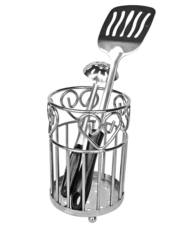 #3804 Chrome Heavy Duty Utensil Holder (case pack 12 pcs)