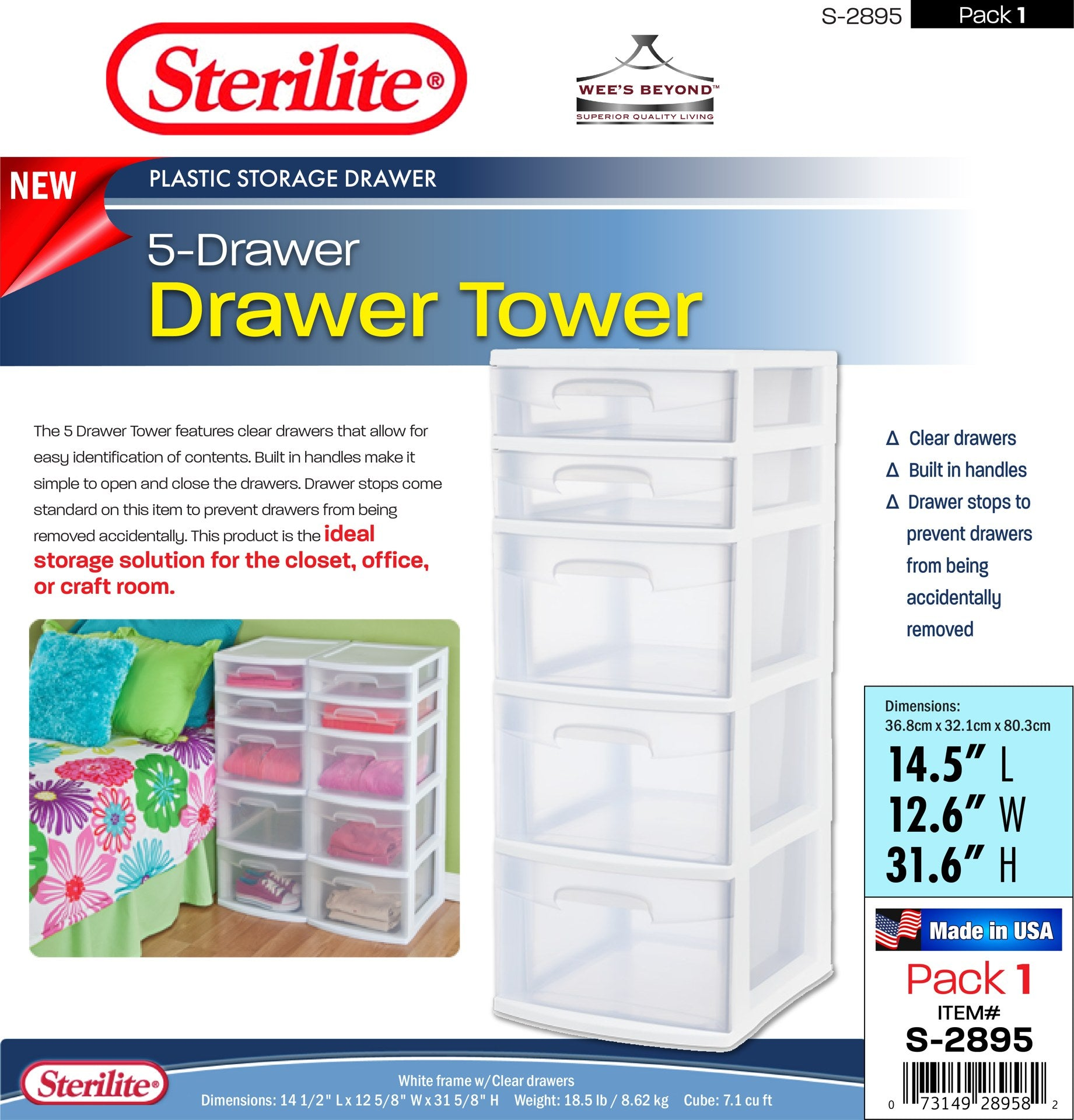 #S-2895 Sterilite Plastic 5 Drawer Tower