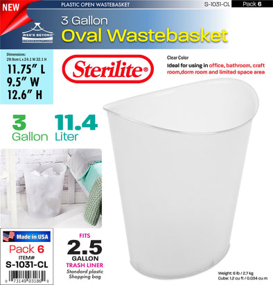 #S-1031-CL Sterilite Plastic 3 Gallon Oval Wastebasket - Clear (case pack 6 pcs)