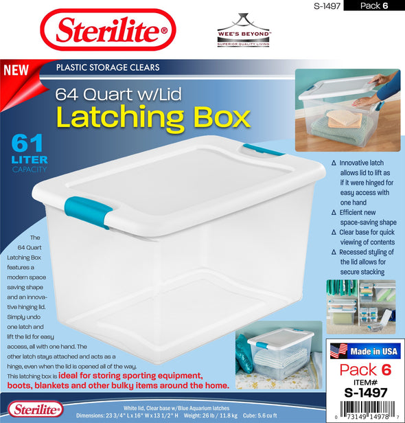#S-1497 Sterilite Plastic Clear 64 Qt Latching Box w/Lid (case pack 6 pcs)