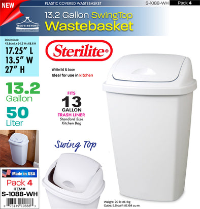 #S-1088-WH Sterilite Plastic 13.2 Gallon SwingTop Wastebasket- White (case pack 4 pcs)