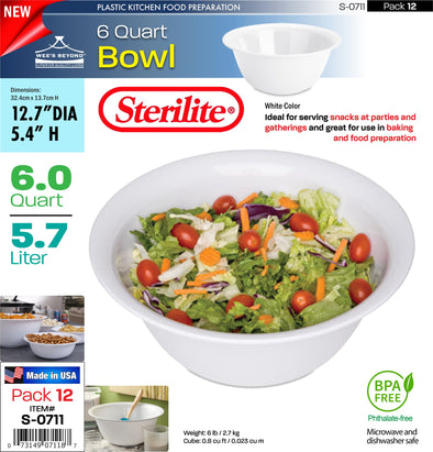 #S-0711 Sterilite Plastic 6 Quart Bowl (case pack 12 pcs)