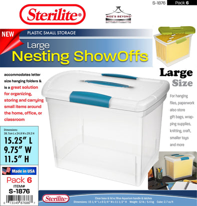 S 1876 Sterilite Plastic Large Nesting ShowOffs case pack 6 pcs