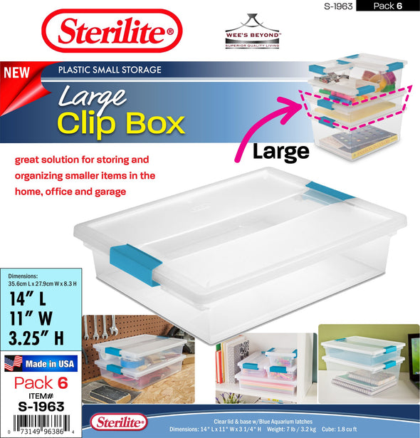 #S-1963 Sterilite Plastic Large Clip Box (case pack 6 pcs)