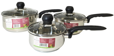 #5005 Stainless Steel Glass Covered Sauce Pan Set of 3 Sizes (case pack 4)