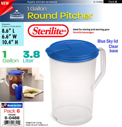 #S-0488 Sterilite Plastic 1 Gallon Round Pitcher (case pack 6 pcs)