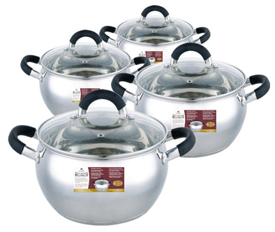 #5271-(SET) Stainless Steel Sauce Pot Set - Apple Shape (case pack 2 pcs)