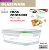 #5322-GC Glass Rectangle Food Container w/Lid (case pack 6 pcs)