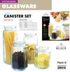 #5352-S4 Wee's Beyond Glass Canister Set with Lid Set of 4 Sizes  (case pack 4)