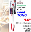 "#5914  Stainless Steel 14"" Silicon Clip Food Tong (case pack 24 pcs/ master carton 96 pcs)"