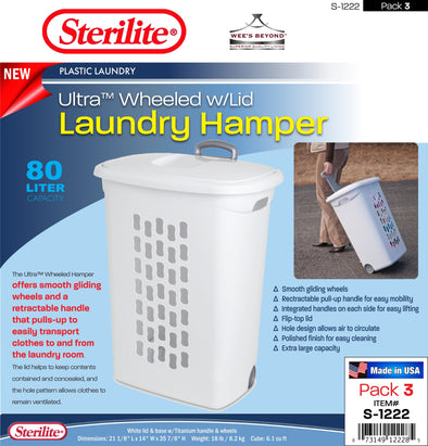 #S-1222 Sterilite Plastic Wheeled Laundry Hamper w/Retractable Handle