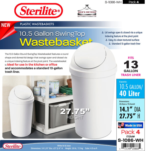 #S-1086-WH Sterilite Plastic 10.5 Gallon SwingTop Wastebasket- White (case pack 4 pcs)