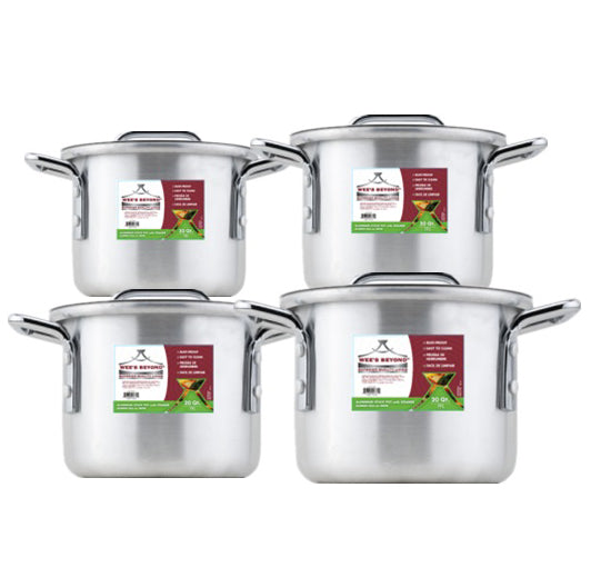 #6671 Small Aluminum Stock Pot Set of 4 without Steamer (case pack 1 set)