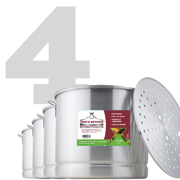 #6673-A Aluminum Steamer Stock Pot Set of 4 (case pack 1 set)