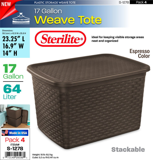 #S-1278 Sterilite Plastic 17 Gallon Weave Tote (case pack 4 pcs)