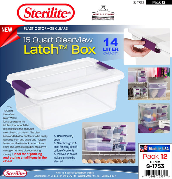 #S-1753 Sterilite Plastic 15 Quart ClearView Latch Box (case pack 12 pcs)