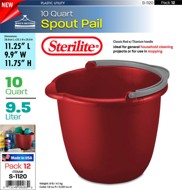 #S-1120 Sterilite Plastic 10 Quart Spout Pail Red (case pack 12 pcs)
