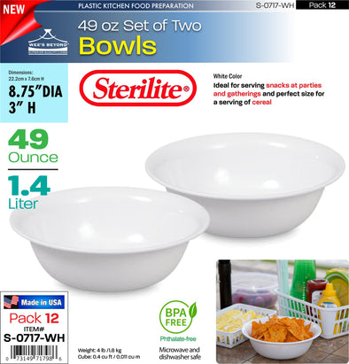 #S-0717-WH Sterilite Plastic Set of Two 49 Ounce Bowls (case pack 12 pcs)