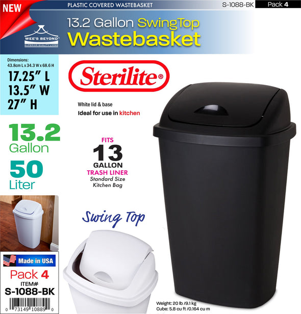 #S-1088-BK Sterilite Plastic 13.2 Gallon SwingTop Wastebasket- Black (case pack 4 pcs)